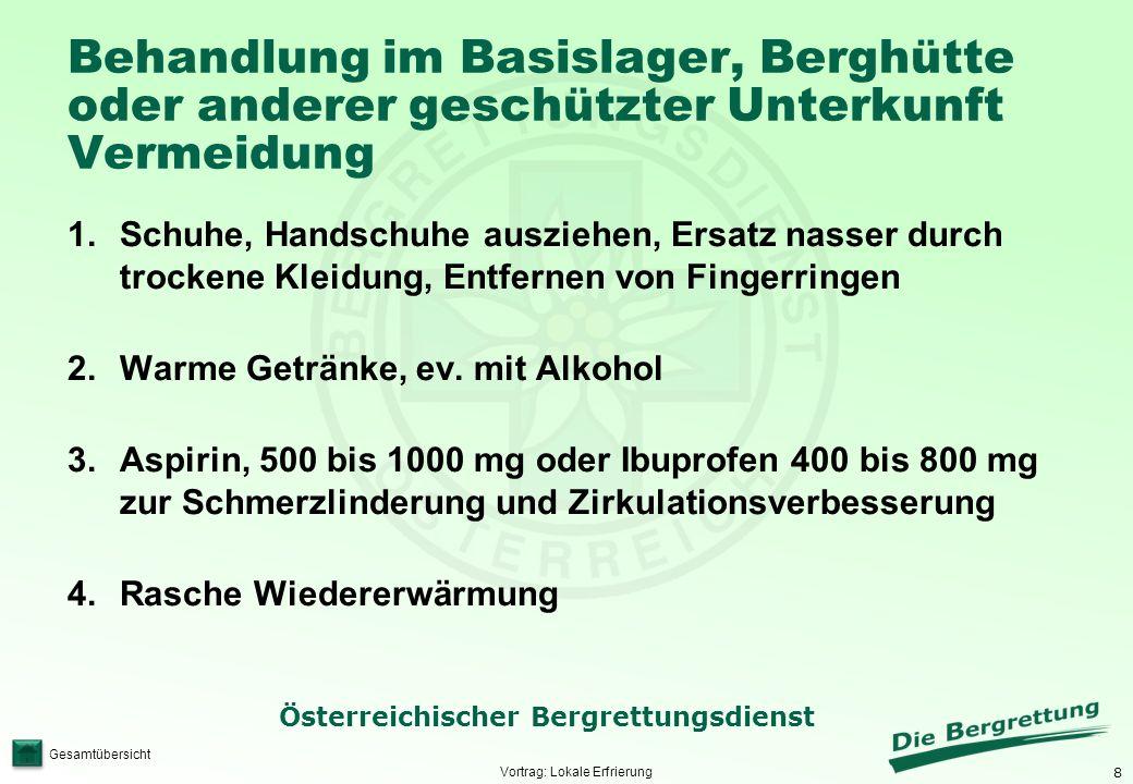 9 Österreichischer Bergrettungsdienst Gesamtübersicht Rasche Wiedererwärmung von lokalen Erfrierungen im Basislager, in der Berghütte oder anderer geschützter warmer Unterkunft.