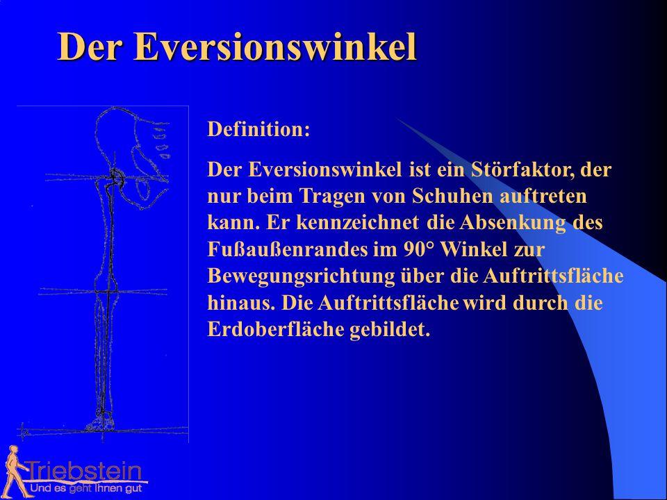Der Eversionswinkel Definition: Der Eversionswinkel ist ein Störfaktor, der nur beim Tragen von Schuhen auftreten kann. Er kennzeichnet die Absenkung