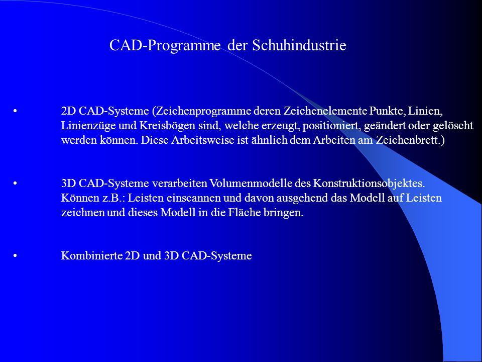 CAD-Programme der Schuhindustrie 2D CAD-Systeme (Zeichenprogramme deren Zeichenelemente Punkte, Linien, Linienzüge und Kreisbögen sind, welche erzeugt, positioniert, geändert oder gelöscht werden können.