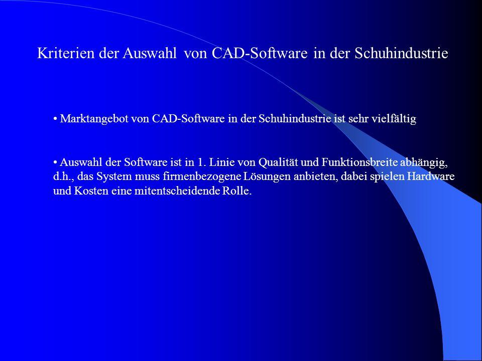 Kriterien der Auswahl von CAD-Software in der Schuhindustrie Marktangebot von CAD-Software in der Schuhindustrie ist sehr vielfältig Auswahl der Software ist in 1.