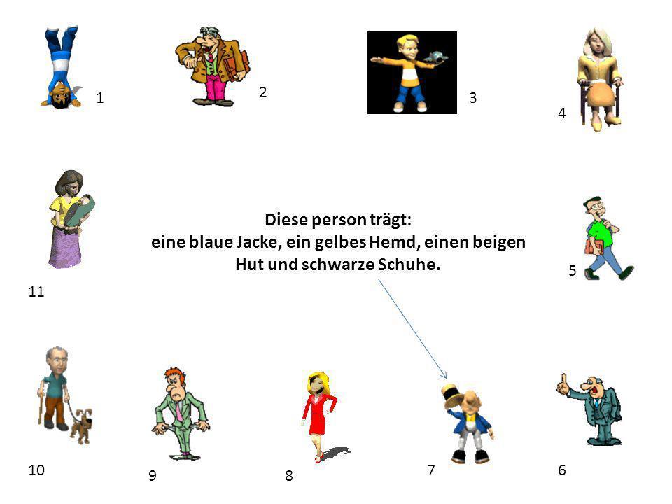 1 2 3 4 5 67 89 10 11 Diese person trägt: eine blaue Jacke, ein gelbes Hemd, einen beigen Hut und schwarze Schuhe.