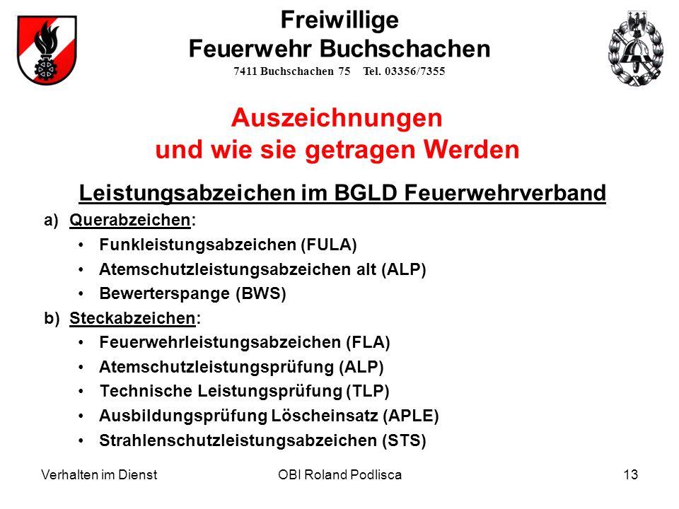 Leistungsabzeichen im BGLD Feuerwehrverband a)Querabzeichen: Funkleistungsabzeichen (FULA) Atemschutzleistungsabzeichen alt (ALP) Bewerterspange (BWS)
