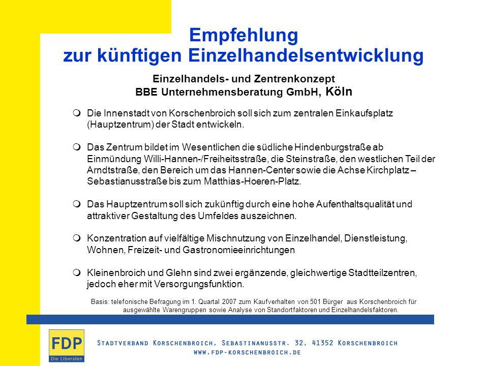 Empfehlung zur künftigen Einzelhandelsentwicklung Einzelhandels- und Zentrenkonzept BBE Unternehmensberatung GmbH, Köln Die Innenstadt von Korschenbroich soll sich zum zentralen Einkaufsplatz (Hauptzentrum) der Stadt entwickeln.