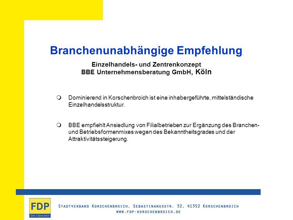 Branchenunabhängige Empfehlung Einzelhandels- und Zentrenkonzept BBE Unternehmensberatung GmbH, Köln Dominierend in Korschenbroich ist eine inhabergeführte, mittelständische Einzelhandelsstruktur.