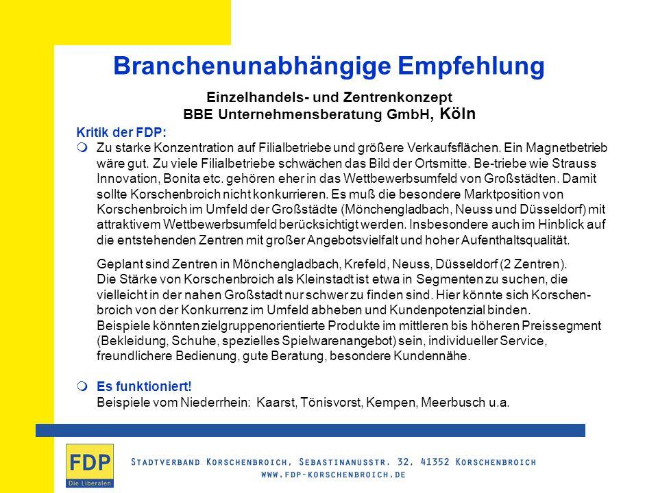 Branchenunabhängige Empfehlung Einzelhandels- und Zentrenkonzept BBE Unternehmensberatung GmbH, Köln Kritik der FDP: Zu starke Konzentration auf Filialbetriebe und größere Verkaufsflächen.