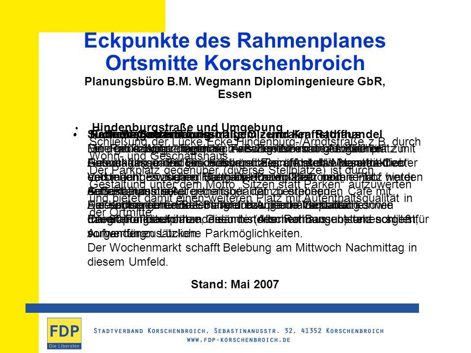 Eckpunkte des Rahmenplanes Ortsmitte Korschenbroich Planungsbüro B.M.