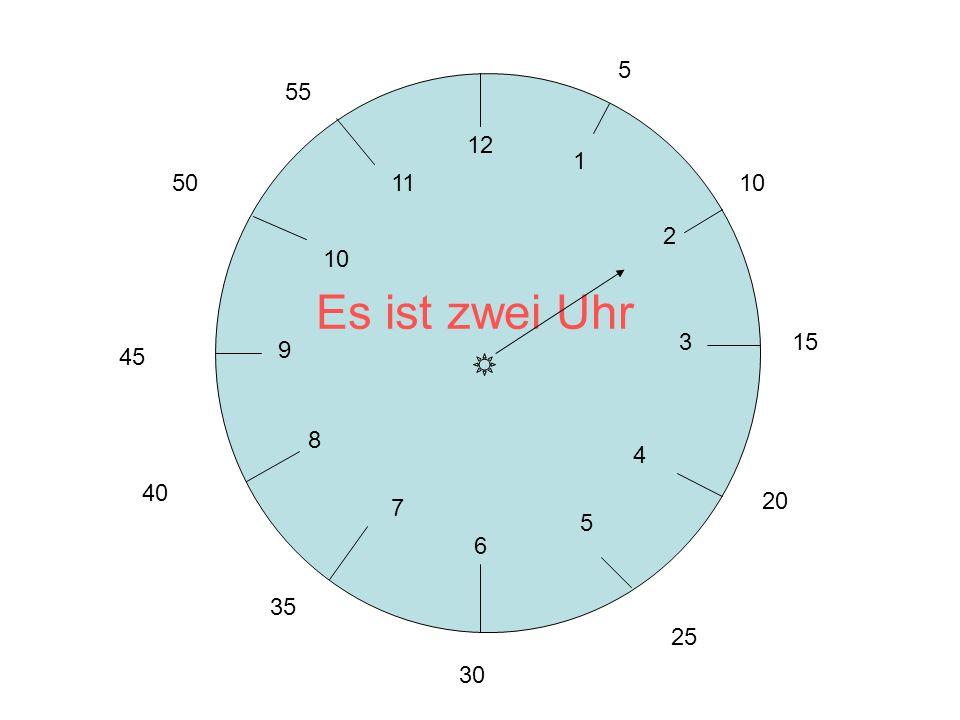 12 3 6 9 1 2 4 5 7 8 10 11 5 10 15 20 25 30 35 40 45 50 55 Es ist zwei Uhr