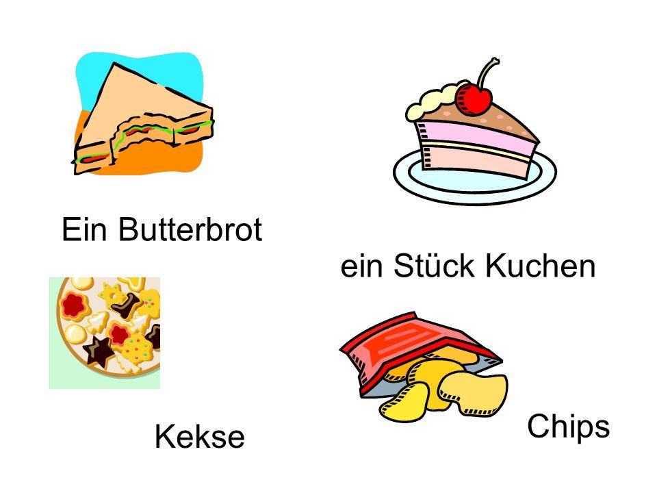 Ein Butterbrot ein Stück Kuchen Kekse Chips