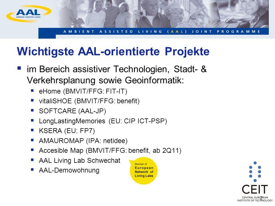 2 Wichtigste AAL-orientierte Projekte im Bereich assistiver Technologien, Stadt- & Verkehrsplanung sowie Geoinformatik: eHome (BMVIT/FFG: FIT-IT) vitaliSHOE (BMVIT/FFG: benefit) SOFTCARE (AAL-JP) LongLastingMemories (EU: CIP ICT-PSP) KSERA (EU: FP7) AMAUROMAP (IPA: netidee) Accesible Map (BMVIT/FFG: benefit, ab 2Q11) AAL Living Lab Schwechat AAL-Demowohnung