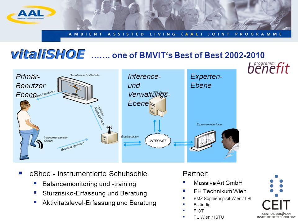 ……. one of BMVITs Best of Best 2002-2010 eShoe - instrumentierte Schuhsohle Balancemonitoring und -training Sturzrisiko-Erfassung und Beratung Aktivit