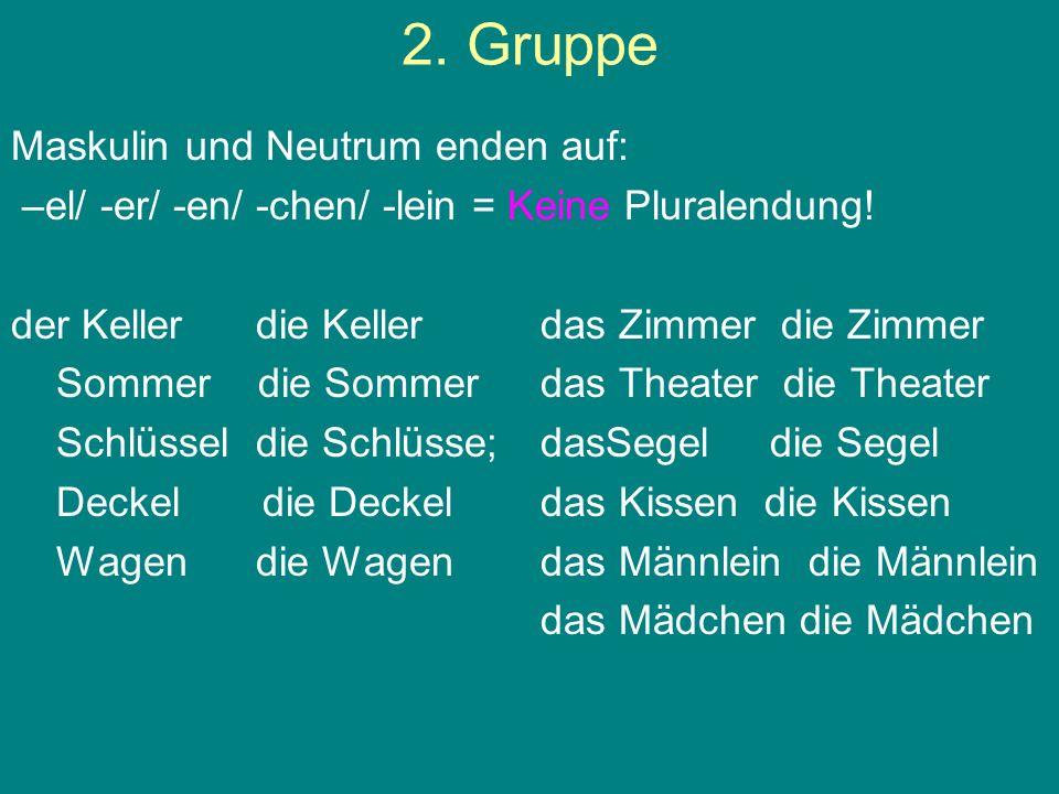 2. Gruppe Maskulin und Neutrum enden auf: –el/ -er/ -en/ -chen/ -lein = Keine Pluralendung! der Keller die Kellerdas Zimmer die Zimmer Sommer die Somm