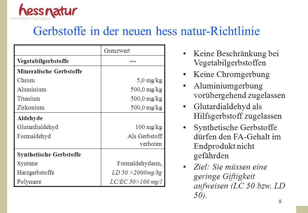 8 Gerbstoffe in der neuen hess natur-Richtlinie Keine Beschränkung bei Vegetabilgerbstoffen Keine Chromgerbung Aluminiumgerbung vorübergehend zugelass