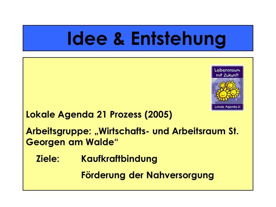 Idee & Entstehung Lokale Agenda 21 Prozess (2005) Arbeitsgruppe: Wirtschafts- und Arbeitsraum St. Georgen am Walde Ziele:Kaufkraftbindung Förderung de