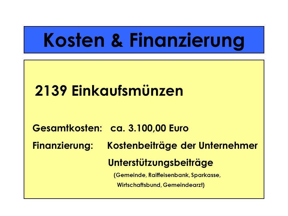 Kosten & Finanzierung 2139 Einkaufsmünzen Gesamtkosten: ca. 3.100,00 Euro Finanzierung: Kostenbeiträge der Unternehmer Unterstützungsbeiträge (Gemeind