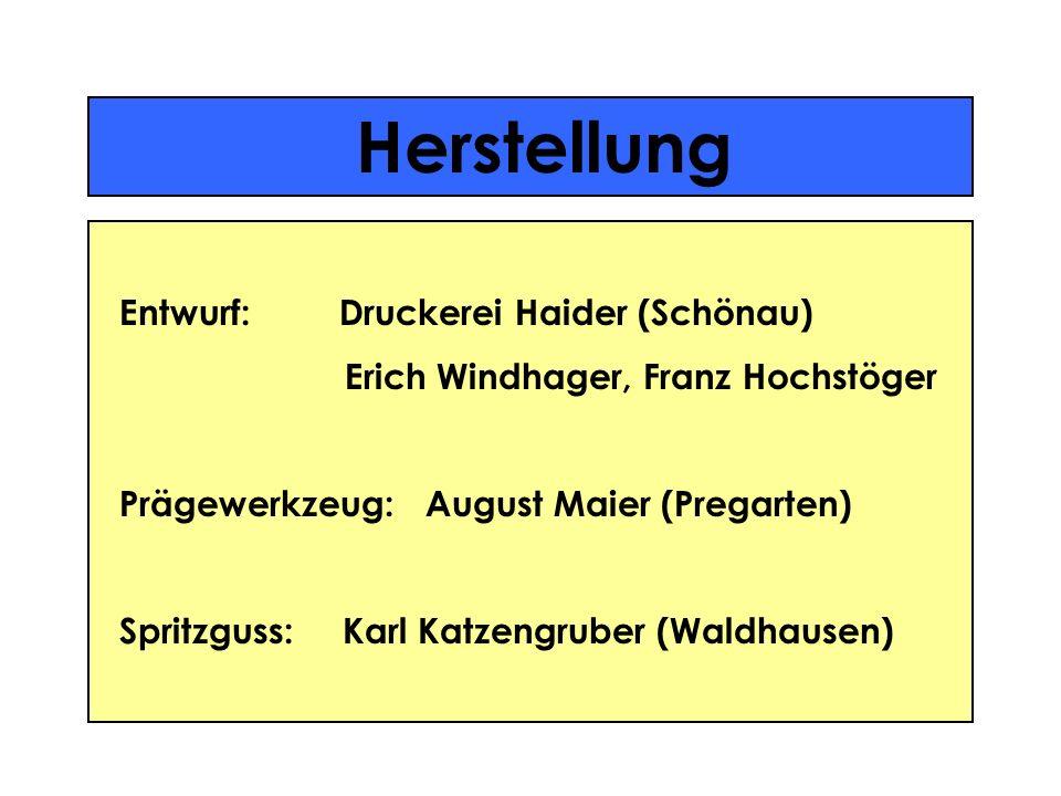 Herstellung Entwurf: Druckerei Haider (Schönau) Erich Windhager, Franz Hochstöger Prägewerkzeug: August Maier (Pregarten) Spritzguss: Karl Katzengrube