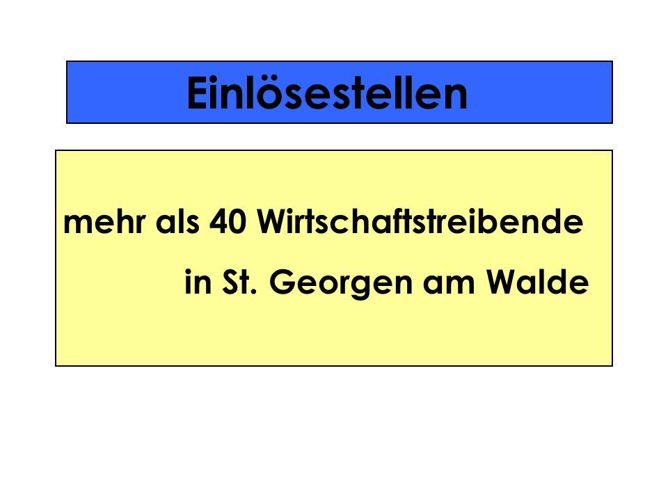 Einlösestellen Karl Astleitner (Elektro) Buchberger & Brunner OEG (Sport und Foto) Adolf Freyenschlag (Zimmerei) Gartencenter und Dienstleistungs-GmbH (Blumen) regor Fichtinger (Taxi, Mietwagen) Karl Gruber (Schlosserei) Wolfgang Haas (Extra Nah & Frisch Markt) Johann Hahn (Wohnfeeling) Berthilde Haider (Spar Markt) Werner Haider (Gasthaus) Dipl.-Ing.