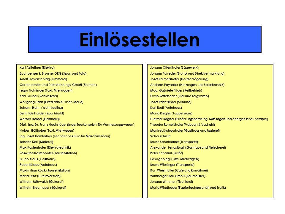 Einlösestellen Karl Astleitner (Elektro) Buchberger & Brunner OEG (Sport und Foto) Adolf Freyenschlag (Zimmerei) Gartencenter und Dienstleistungs-GmbH