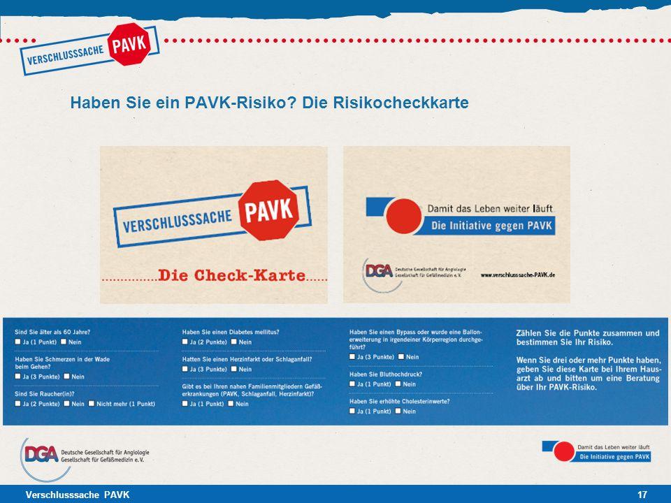 Verschlusssache PAVK17 Haben Sie ein PAVK-Risiko? Die Risikocheckkarte