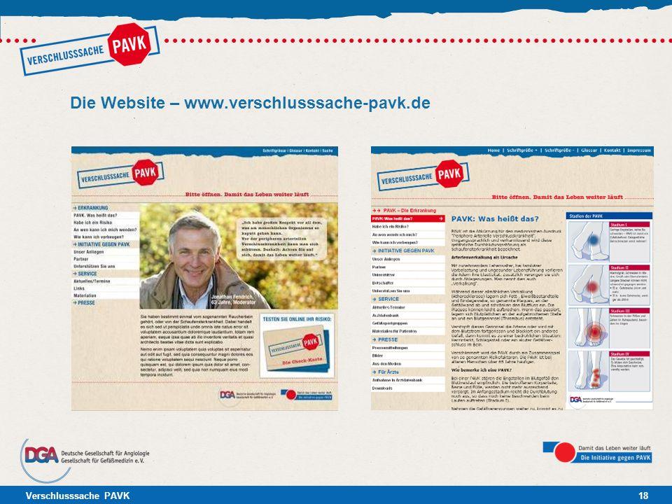 Verschlusssache PAVK18 Die Website – www.verschlusssache-pavk.de