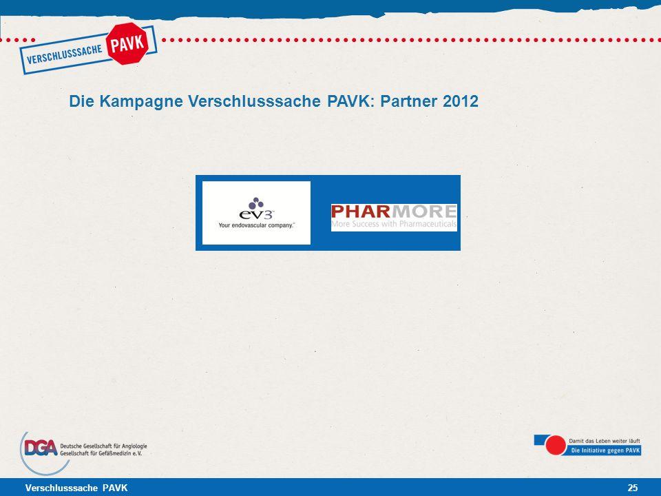 Verschlusssache PAVK25 Die Kampagne Verschlusssache PAVK: Partner 2012