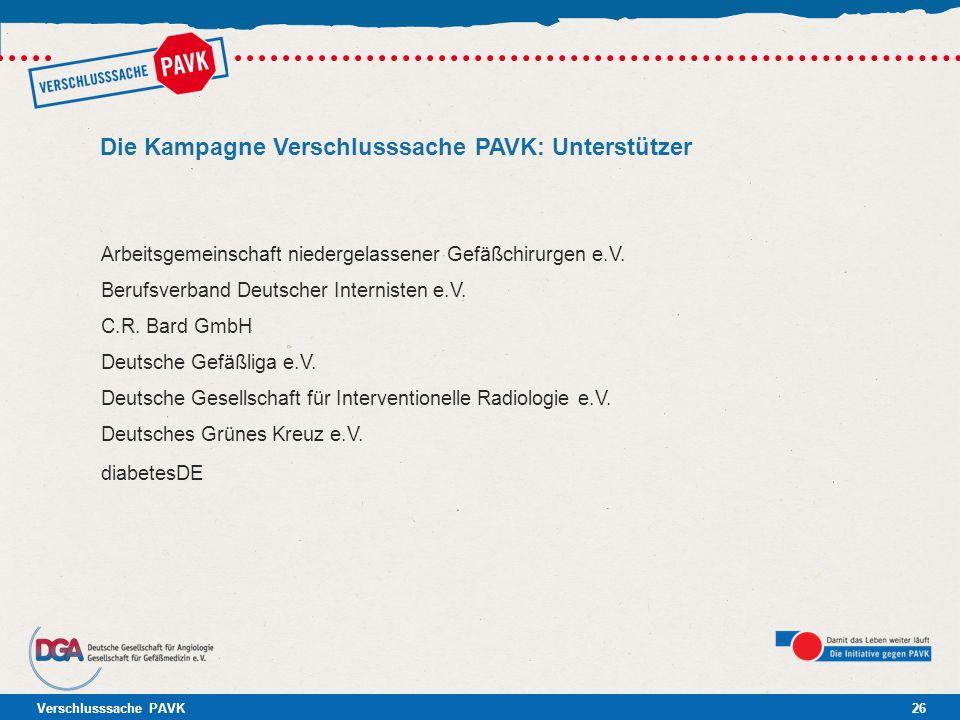 Verschlusssache PAVK26 Die Kampagne Verschlusssache PAVK: Unterstützer Arbeitsgemeinschaft niedergelassener Gefäßchirurgen e.V. Berufsverband Deutsche