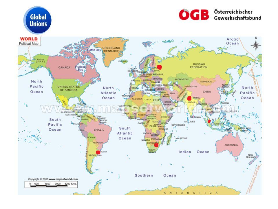 ÖGB & IndustriAll Die Mehrheit der PROGE Branchen ist in IndustriAll vertreten: sehr stark im Bereich der Maschinenbau (aufgrund der Vorsitzfunktion); aber auch in den Bereichen Metall, Bergbau, Chemie, Energie, Papier, Textil-Bekleidung-Leder Nur im Lebensmittel –und Landwirtschaftsbereich ist PROGE Mitglied des IUF (Int.