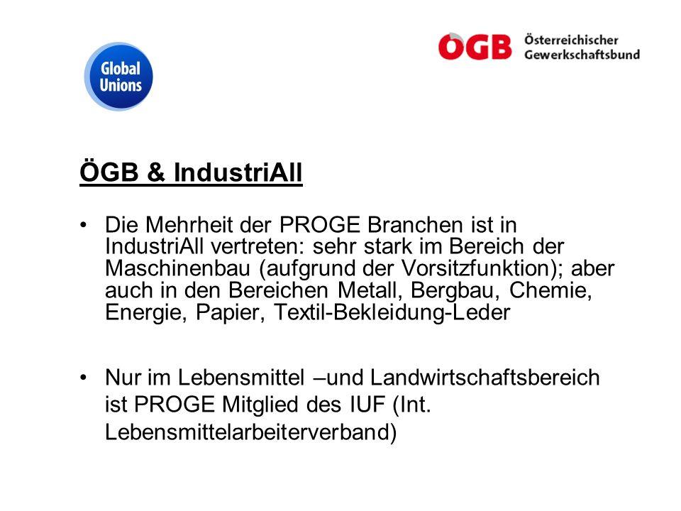 ÖGB & IndustriAll Die Mehrheit der PROGE Branchen ist in IndustriAll vertreten: sehr stark im Bereich der Maschinenbau (aufgrund der Vorsitzfunktion);