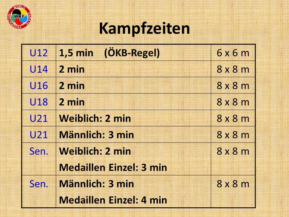 Kampfzeiten U121,5 min (ÖKB-Regel)6 x 6 m U142 min8 x 8 m U162 min8 x 8 m U182 min8 x 8 m U21Weiblich: 2 min8 x 8 m U21Männlich: 3 min8 x 8 m Sen.Weib