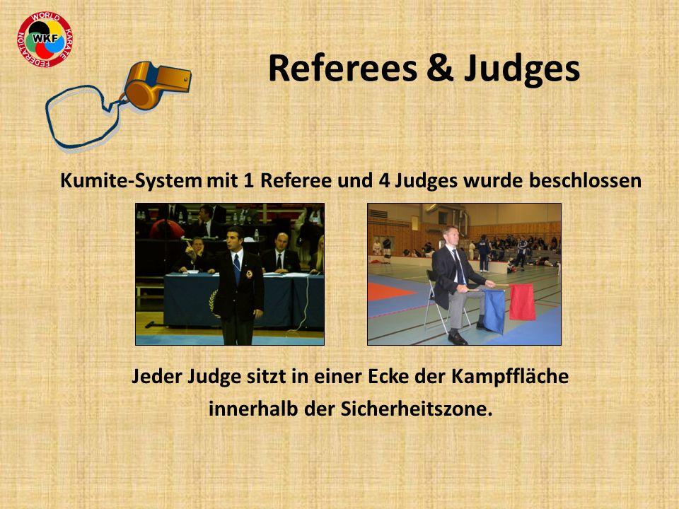 Kumite-System mit 1 Referee und 4 Judges wurde beschlossen Jeder Judge sitzt in einer Ecke der Kampffläche innerhalb der Sicherheitszone. Referees & J