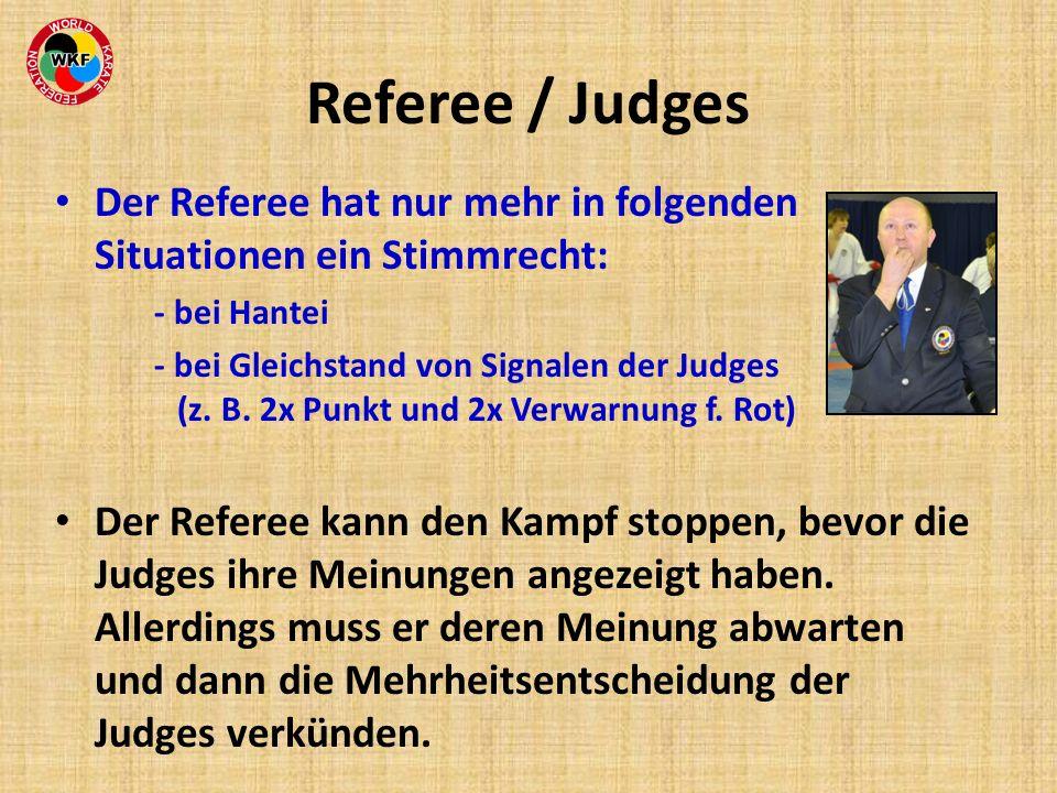 Referee / Judges Der Referee hat nur mehr in folgenden Situationen ein Stimmrecht: - bei Hantei - bei Gleichstand von Signalen der Judges (z. B. 2x Pu