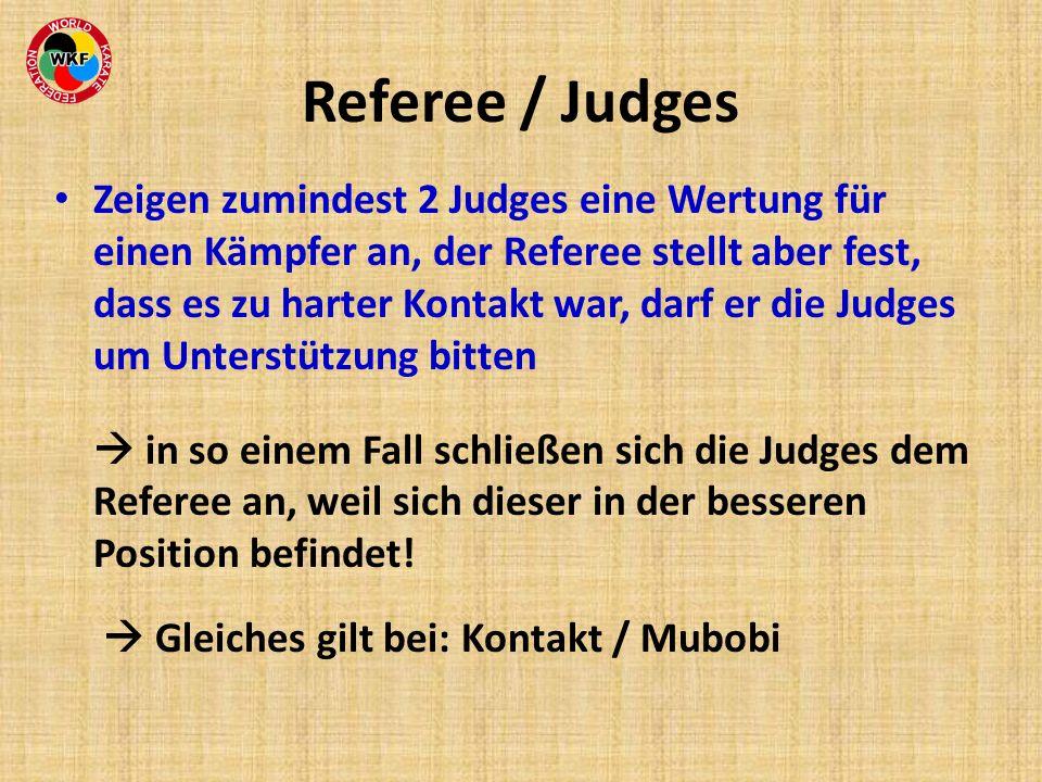 Referee / Judges Zeigen zumindest 2 Judges eine Wertung für einen Kämpfer an, der Referee stellt aber fest, dass es zu harter Kontakt war, darf er die