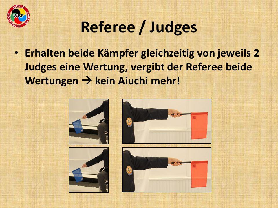 Referee / Judges Erhalten beide Kämpfer gleichzeitig von jeweils 2 Judges eine Wertung, vergibt der Referee beide Wertungen kein Aiuchi mehr!