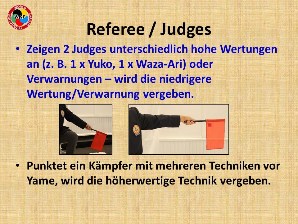 Referee / Judges Zeigen 2 Judges unterschiedlich hohe Wertungen an (z. B. 1 x Yuko, 1 x Waza-Ari) oder Verwarnungen – wird die niedrigere Wertung/Verw
