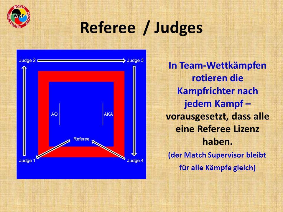 Referee / Judges In Team-Wettkämpfen rotieren die Kampfrichter nach jedem Kampf – vorausgesetzt, dass alle eine Referee Lizenz haben. (der Match Super