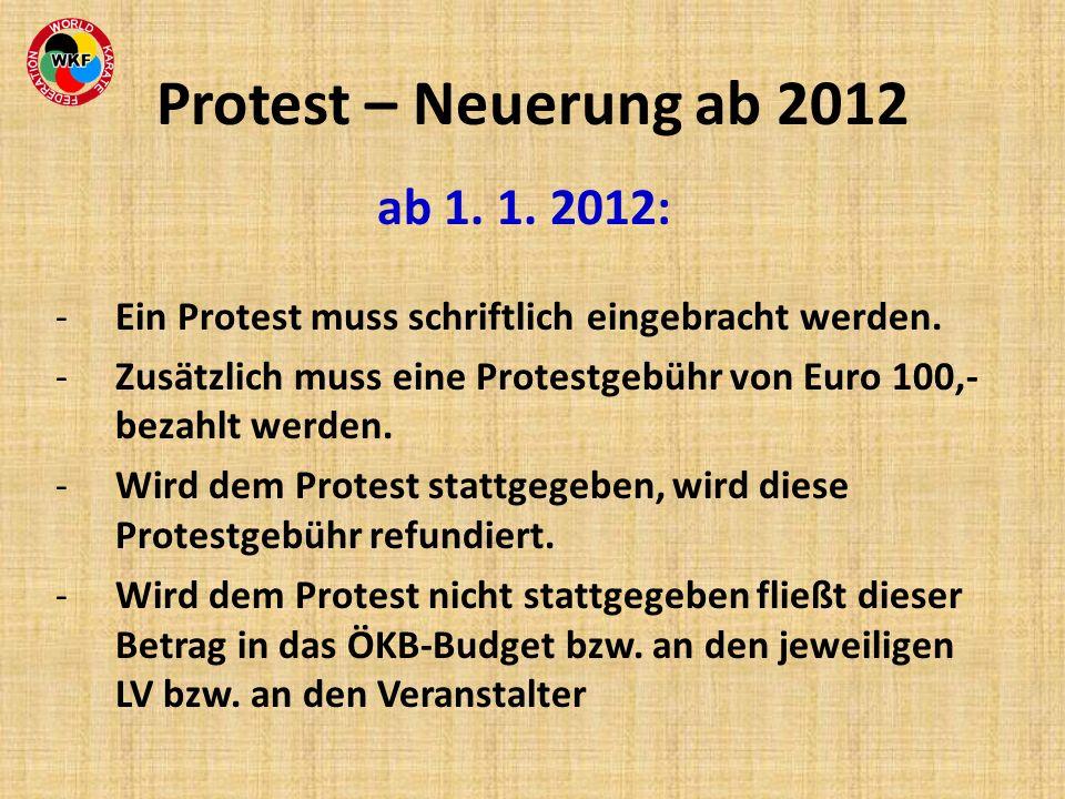 ab 1. 1. 2012: -Ein Protest muss schriftlich eingebracht werden. -Zusätzlich muss eine Protestgebühr von Euro 100,- bezahlt werden. -Wird dem Protest