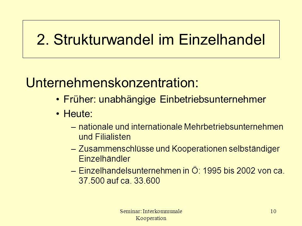 Seminar: Interkommunale Kooperation 10 2. Strukturwandel im Einzelhandel Unternehmenskonzentration: Früher: unabhängige Einbetriebsunternehmer Heute: