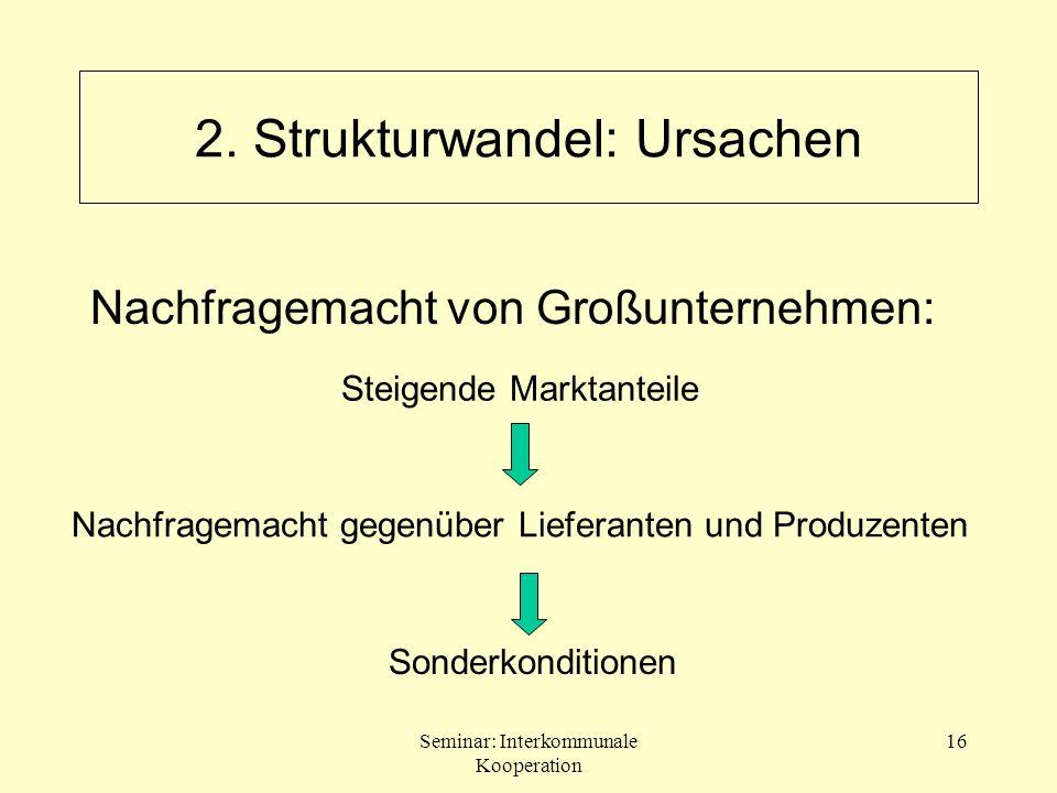 Seminar: Interkommunale Kooperation 16 2. Strukturwandel: Ursachen Sonderkonditionen Steigende Marktanteile Nachfragemacht gegenüber Lieferanten und P