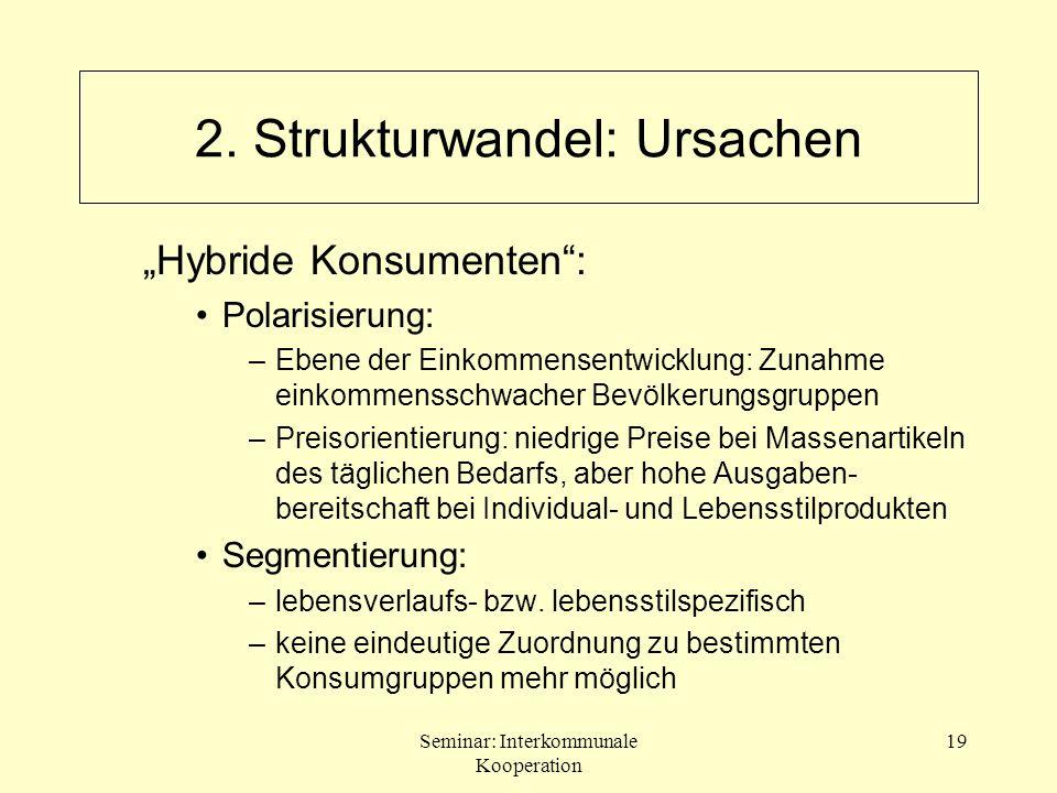 Seminar: Interkommunale Kooperation 19 2. Strukturwandel: Ursachen Hybride Konsumenten: Polarisierung: –Ebene der Einkommensentwicklung: Zunahme einko