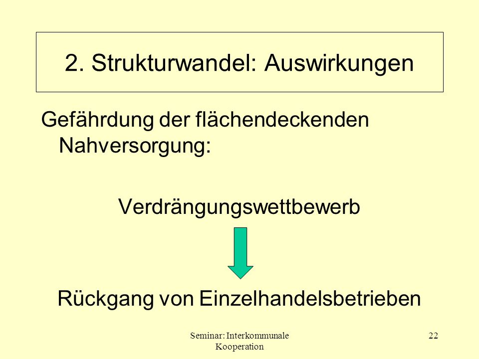Seminar: Interkommunale Kooperation 22 2. Strukturwandel: Auswirkungen Gefährdung der flächendeckenden Nahversorgung: Verdrängungswettbewerb Rückgang