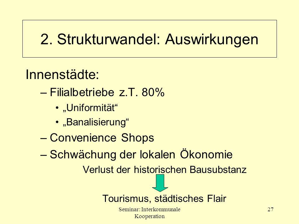 Seminar: Interkommunale Kooperation 27 Innenstädte: –Filialbetriebe z.T. 80% Uniformität Banalisierung –Convenience Shops –Schwächung der lokalen Ökon