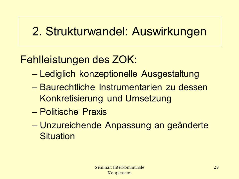 Seminar: Interkommunale Kooperation 29 Fehlleistungen des ZOK: –Lediglich konzeptionelle Ausgestaltung –Baurechtliche Instrumentarien zu dessen Konkre