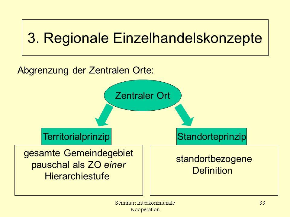 Seminar: Interkommunale Kooperation 33 Zentraler Ort TerritorialprinzipStandorteprinzip gesamte Gemeindegebiet pauschal als ZO einer Hierarchiestufe s