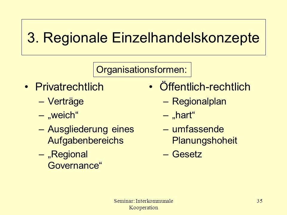 Seminar: Interkommunale Kooperation 35 Privatrechtlich –Verträge –weich –Ausgliederung eines Aufgabenbereichs –Regional Governance Öffentlich-rechtlic