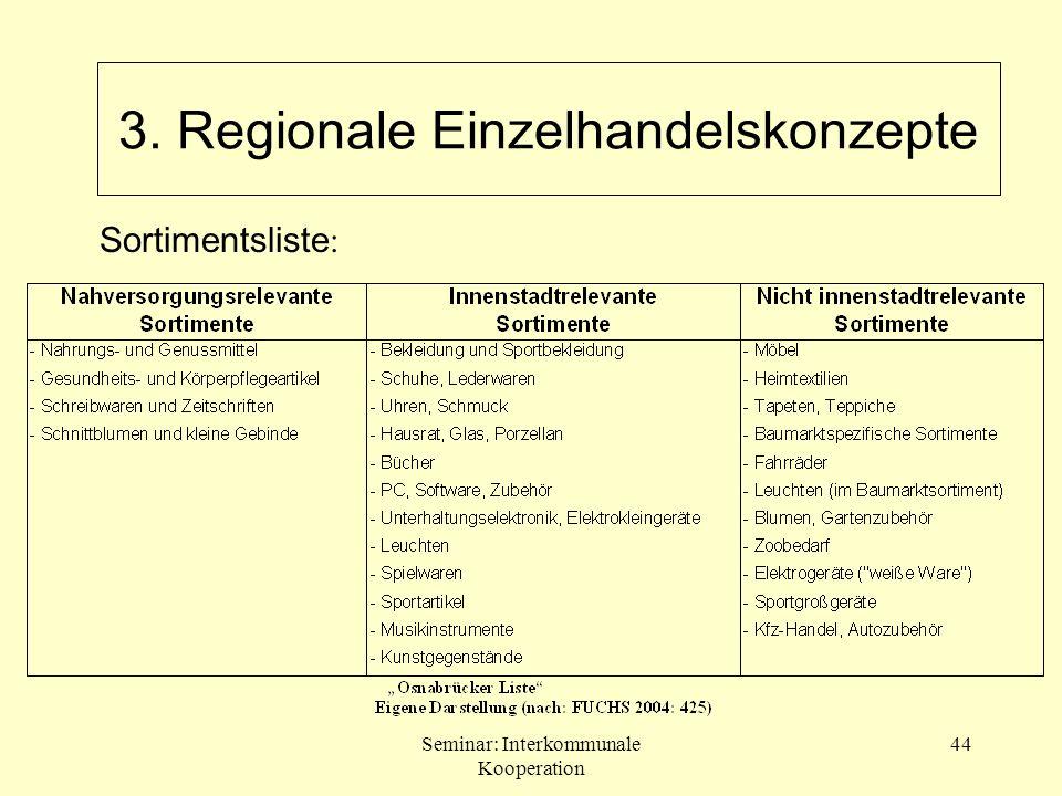Seminar: Interkommunale Kooperation 44 Sortimentsliste : 3. Regionale Einzelhandelskonzepte