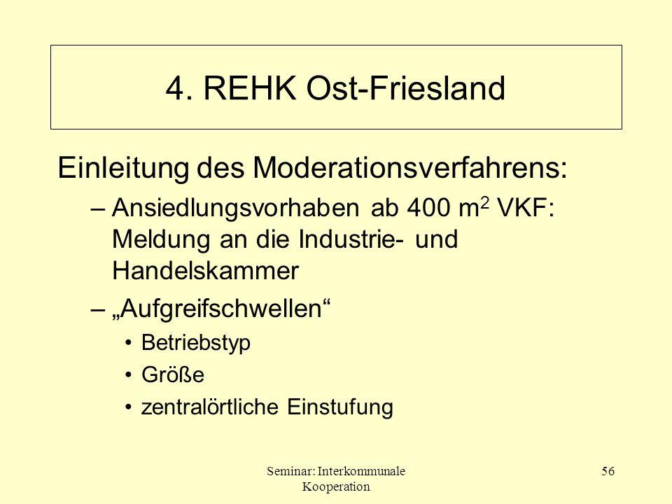 Seminar: Interkommunale Kooperation 56 Einleitung des Moderationsverfahrens: –Ansiedlungsvorhaben ab 400 m 2 VKF: Meldung an die Industrie- und Handel