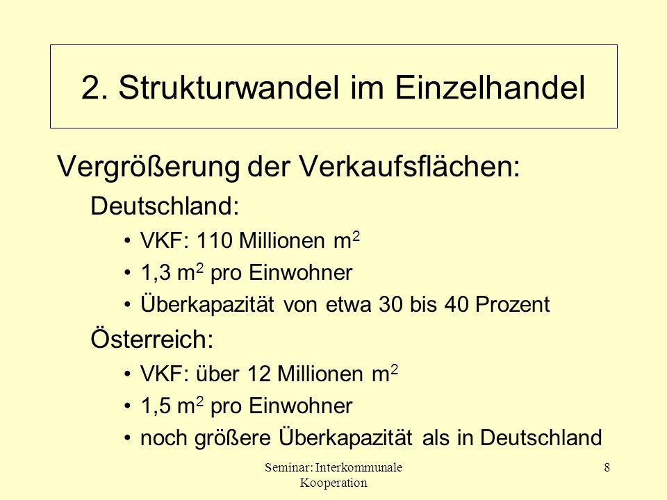 Seminar: Interkommunale Kooperation 8 2. Strukturwandel im Einzelhandel Vergrößerung der Verkaufsflächen: Deutschland: VKF: 110 Millionen m 2 1,3 m 2
