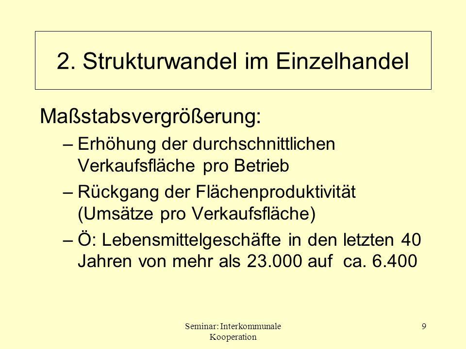 Seminar: Interkommunale Kooperation 30 Weiterentwicklung des ZOK aufgrund: –Verschiebungen in der Bedeutung einzelner Zentrumstypen –Standortkonkurrenzen zwischen gleichrangigen Zentren –Auflösung abgrenzbarer zentralörtlicher Bereiche 2.