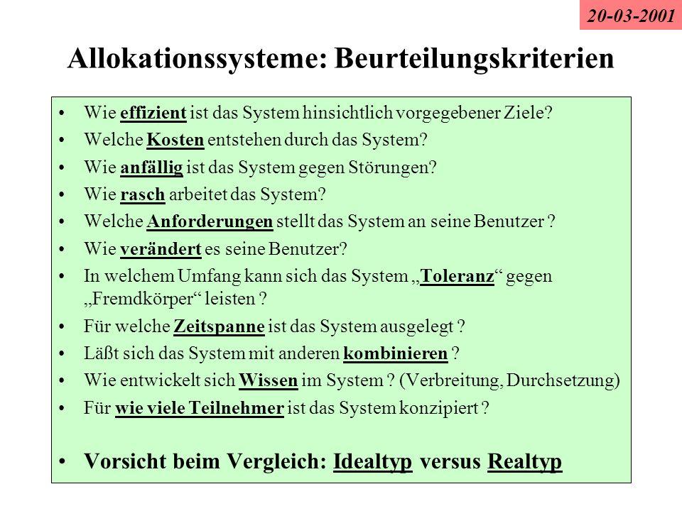 Allokationssysteme: Beurteilungskriterien Wie effizient ist das System hinsichtlich vorgegebener Ziele? Welche Kosten entstehen durch das System? Wie