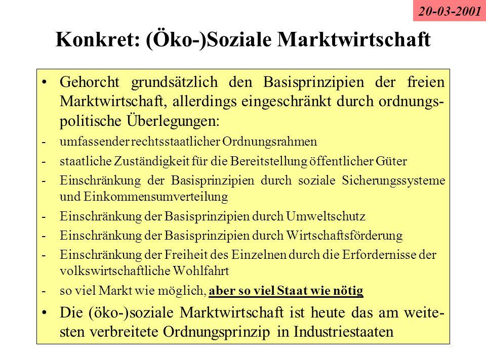 Konkret: (Öko-)Soziale Marktwirtschaft Gehorcht grundsätzlich den Basisprinzipien der freien Marktwirtschaft, allerdings eingeschränkt durch ordnungs-