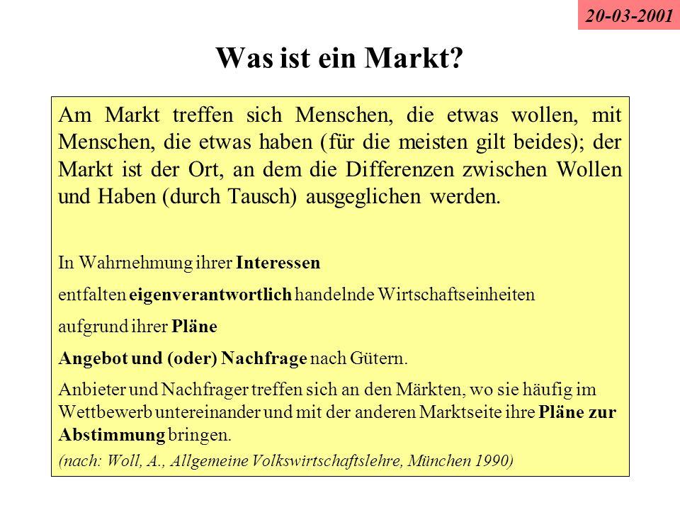 Was ist ein Markt? Am Markt treffen sich Menschen, die etwas wollen, mit Menschen, die etwas haben (für die meisten gilt beides); der Markt ist der Or